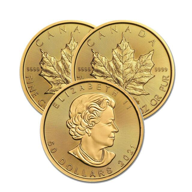 Lot Of 3 Gold 2021 Maple 1 Oz Canadian Gold Maple Leaf $50.9999 Fine Coins