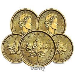 Lot of 5 2020 1/10 oz Canadian Gold Maple Leaf $5 Coin. 9999 Fine BU (Sealed)