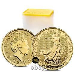 Lot of 5 2021 Great Britain 1/10 oz Gold Britannia Coin. 9999 Fine BU