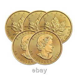 Lot of 5 Gold 2021 Maple 1 oz Canadian Gold Maple Leaf $50.9999 Fine coins