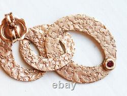 MINT! Rare $1380 ROBERTO COIN 18K Rose Gold Chic Shine Large Link Earrings