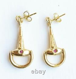 MINT! Rare $2700 ROBERTO COIN 18K Yellow Gold Cheval Horse Bit Earrings