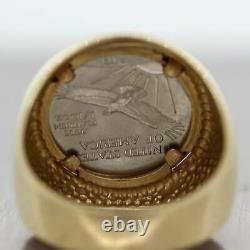 Men's 1998 Vintage Estate 14k Yellow Gold 1/10th oz Platinum Eagle Coin Ring
