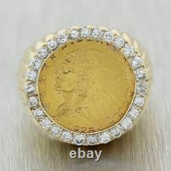 Men's Vintage Estate 14k Yellow Gold Indian Coin 1ctw Diamond Ring