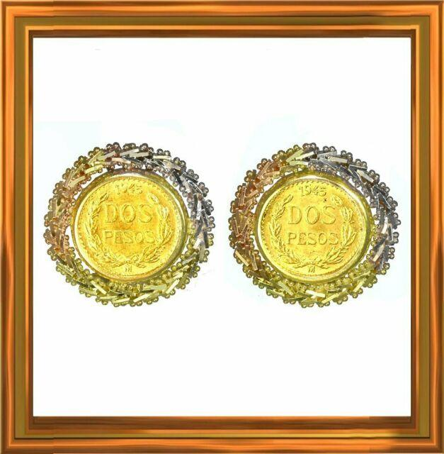Mexican 14k Gold Earrings, Genuine 1945 2 Pesos Gold Coins, 21.6 Karats M-f