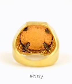 Mexico 1945 $2.5 Pesos. 900 Fine Gold Coin in 14k YG Octagon Ring Bezel Size 7
