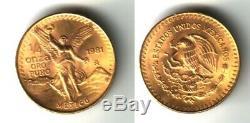 Mexico 1981 Gold 1/4 ONZA PURE. 999 FINE GOLD GEM B. U. STUNNING-A STELLAR COIN