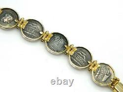 Mystery Designer Greek 14K Gold Signed Greek Coin Sterling Silver 925 Bracelet