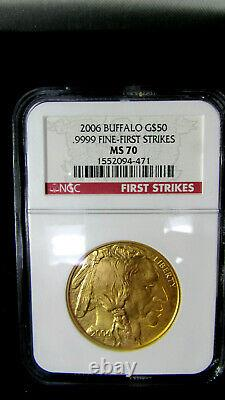 NGC MS70 2006 Buffalo G$50.9999 Fine-First Strikes red label with case
