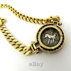 NYJEWEL Bulgari 18k Gold Ancient Coin Diamond Ruby Necklace Original Box