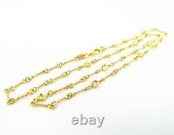 NYJEWEL Roberto Coin 18K Yellow Gold 7 Station Diamond Dog Bone Necklace 16.75
