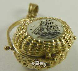 Nantucket Basket Charm Vintage 14K Gold Opens Tiny Coins Inside Mechanical