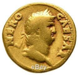 Nero (AD 54-68) Roman AV gold aureus coin Colossus RIC 46 Rome mint Fine
