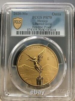 PCGS (GS) 2020-Mo PR70 1 oz. Reverse Proof. 999 fine Gold Libertad México Coin