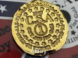 PolarBearPours 1 OZT Hand Poured Confederate Gold Coin Bar. 999 Fine Au Fantasy
