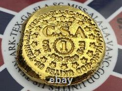 PolarBearPours 1 OZT fine lost Confederate Gold Coin Bar Fantasy Hard CSA COA