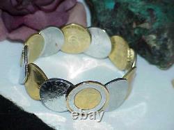 QVC Bronzo Italia 14K Gold Clad Authentic Lire 12 Coin Cuff Bangle Bracelet New