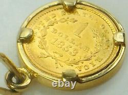 RARE 1853 Liberty Head $1 Gold Coin Pendant 14K Gold Bezel 3.2gm
