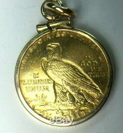 RARE 1911 2-1/2 GOLD DOLLAR INDIAN HEAD LIBERTY EAGLE COIN. Pendant 5.3gm