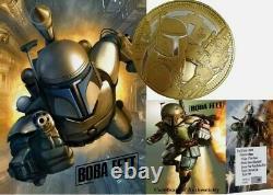 RARE 2020 1 oz Silver Round Boba Fett Star Wars BU. 999 Fine Gold 100 MINTED