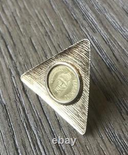 RARE Antique Solid Gold Venezuela Caciques Head Coin in 18k Yellow Gold Brooch