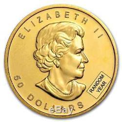 RCM 1 oz Gold Canadian Maple Leaf Random Date $50 Gold Coin. 999 Fine BU