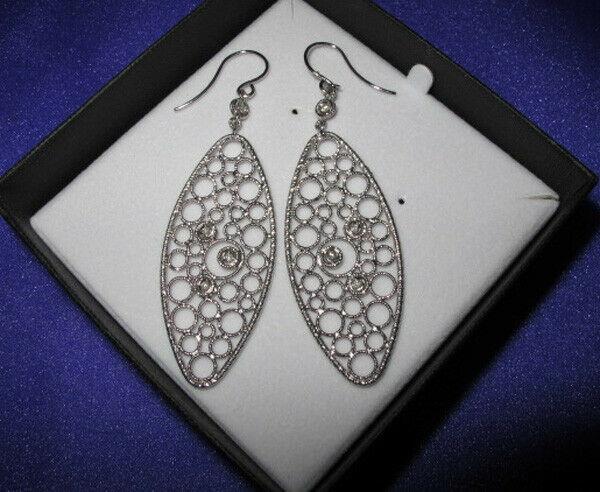 Roberto Coin Mauresque Diamond 18k White Gold Long Dangle Fancy Earrings