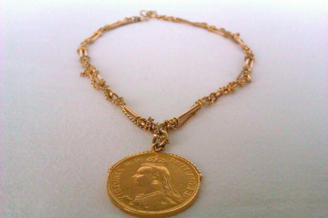Rare 18ct Gold Watch Chain & 22ct Gold Victorian Two Pound Coin 1887 64.28 Grams
