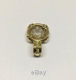 Rare 18k Yellow Gold and Diamond Ancient Coin Frame Pendant Charm Necklace