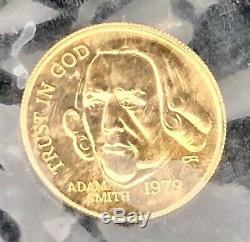Rare 1979 ADAM SMITH 1/10th Ounce Pure Gold Coin FINE BEAUTY Says TRUST IN GOD