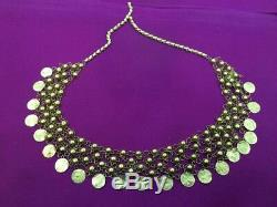 Rare Authentic Egyptian Stamped 21K Gold Heavy 51 grams Cleopatra Coins Necklace