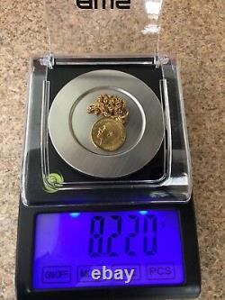 Rare Egyptian Authentic Stamped 21K Gold Half Sovereign Coin Pendant & Necklace