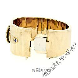 Retro Vintage 14k Gold Tegra Mechanical Watch Wide Coin Edge Bangle Bracelet