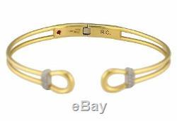 Roberto Coin 18K White Yellow Gold Classic Parisienne Diamond Open Cuff Bracelet