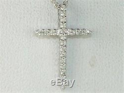 Roberto Coin 18k White Gold Diamond. 11 tcw Cross Pendant Fine Necklace-16-18