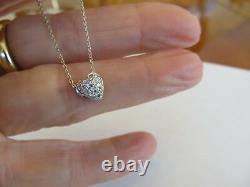 Roberto Coin 18k White Gold Pave Diamond Heart Necklace 19 Adjustable Vs1 F