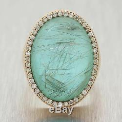 Roberto Coin 18k Yellow Gold. 50ctw Diamond & Green Quartz Ring