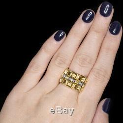 Roberto Coin Appassionata G Vs Diamond Ring 18k Gold Basketweave Wide Band Chain