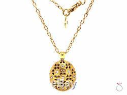 Roberto Coin Granada Diamond and Ruby Locket Pendant with Chain, 18k Yellow Gold