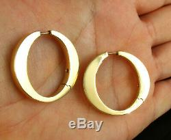 Roberto Coin Ruby Signed Solid 18k Yellow Gold Iconic O Thick Hoop Earrings