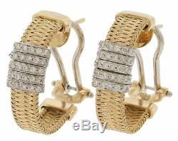 Roberto Coin Silk Weave Earrings 18K Gold and Diamonds