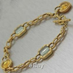 Roberto Coin Solid 18k Yellow Gold Citrine Topaz Charm Bracelet