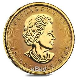 Roll of 10 2020 1 oz Canadian Gold Maple Leaf $50 Coin. 9999 Fine BU Lot, Tube