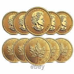 Roll of 10 2021 1 oz Canadian Gold Maple Leaf $50 Coin. 9999 Fine BU Lot, Tube