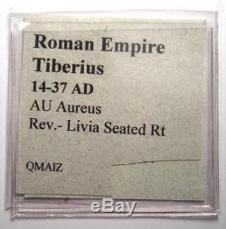 Roman Tiberius Gold AV Aureus Livia Coin 14-37 AD Certified NGC Choice Fine