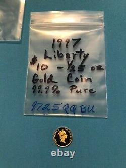 STATUE of LIBERTY Solid GOLD 1/25 oz Coin 1997 Proof 24kt 9999 fine from Niue