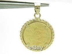 Standing Lady Liberty 5 Dollar 1/10 OZ. 999 Fine Gold Coin Bullion Charm Pendant
