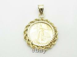 Standing Lady Liberty 5 Dollar 1/10 OZ. 999 Fine Gold Coin Bullion Charm Pendant