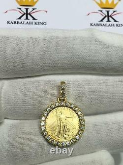 Standing Lady Liberty 5 Dollar 1/10 OZ. 999 Gold Diamond Coin Bullion Necklace