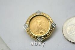Standing Lady Liberty 5 Dollar 1/10 OZ. 999 Gold Diamond Coin SLIDE PENDANT A27